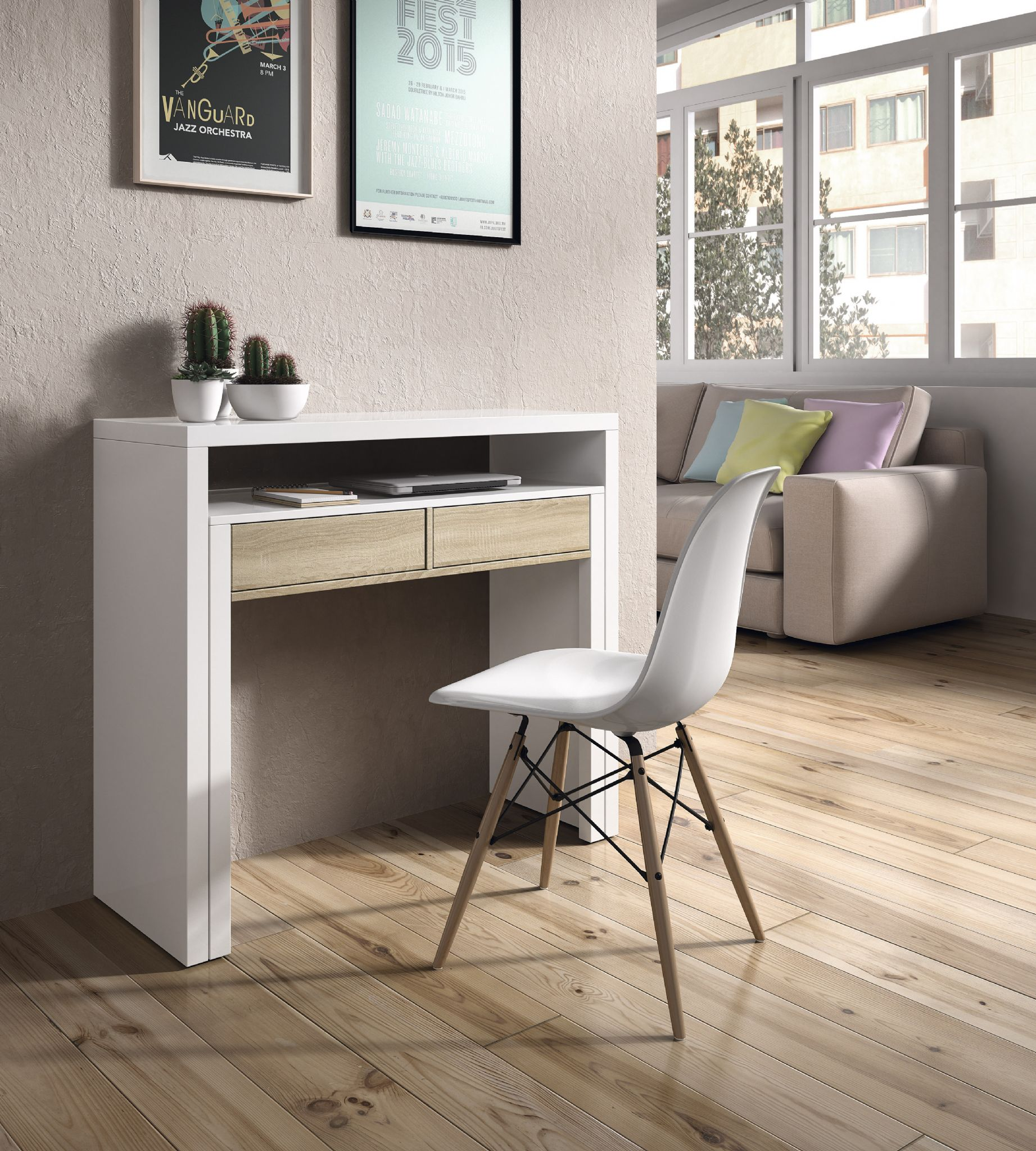 Tressa White with Oak Extending Console Dressing Table